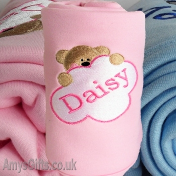 Personalised Cotton Baby Blanket - Pink