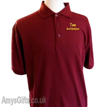 Mens Burgundy Polo Shirt Personalised