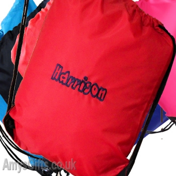 Personalised Red Gym Bag School PE Sports