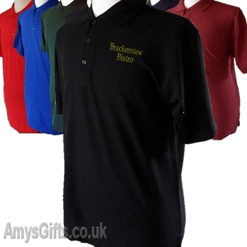 Mens Personalised Black Polo