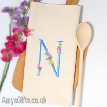 Floral Embroidered Initial
