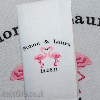 Flirting Flamingos Personalised Tea Towel