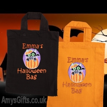 Halloween Cat Personalised Cotton Tote