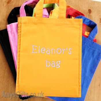 Orange Cotton Mini Tote Bag