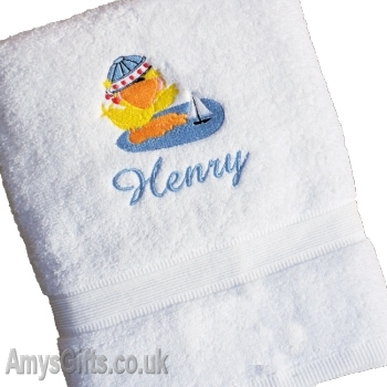 Kids Embroidered Personalised Bath Towel Gift