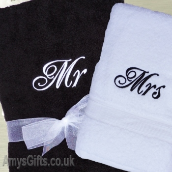 Black and White Bath Towels