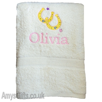 Horseshoe Embroidered Bath Towel