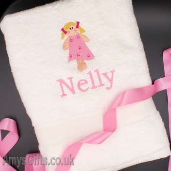Personalised Bath Towel with Doll Motif