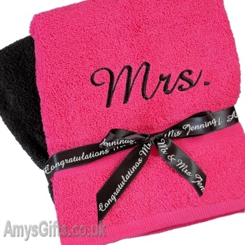 Mr and Mrs Towels Pink and Black Bath Set