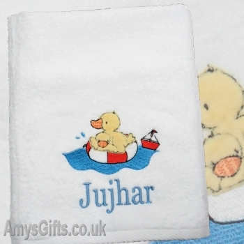 Babys First Personalised Towel Ducky
