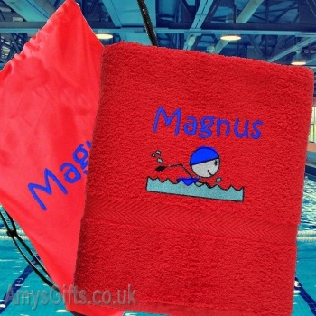 Personalised Red Swimming Towel and Bag