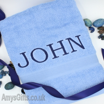 Blue Egyptian Cotton Bath Towel