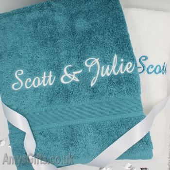 Personalised Towels Teal and White