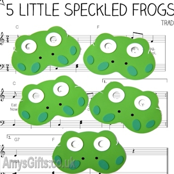 Masks 5 Green Speckled Frogs Counting Song Set