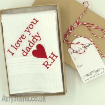 Love Heart Embroidered Message Hanky