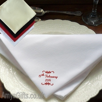 Scroll Embroidered Cloth Napkin